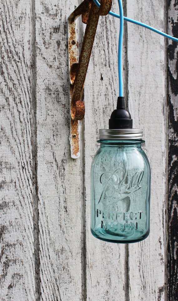 (via Mason Jar Lighting Pendant Fixture Mason Jar Hanging by BootsNGus)