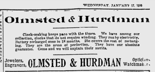 "~ Ottawa Citizen - January 17, 1900(click to enlarge)""We have among our collection, clocks that do not require winding. They run by electricity. … They are the acme of perfection."""