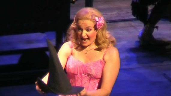 Chloe Taylor (u/s, now s/b) as Glinda during her only show as Glinda in London 2009. Chloe has since returned to the cast as full time s/b Glinda