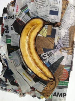 Banana Schwitters. After Kurt Schwitters (20 June 1887 - 8 January 1948) was a German painter who was born in Hanover, Germany.