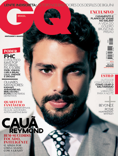 Cover for the forth issue of GQ Brasil (June 2011). Cauã Reymond was photographed by Daniel Klajmic. Strong portrait and white background, to make a contrast with the previous cover (Cesar Cielo).