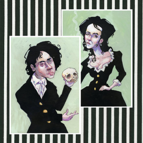 If you knew me, you would know that I adore and was inspired by Tim  Burton for most of my artistic life. Here is a print of a portrait I  painted as an homage to the man, in period garb of course, a la Sleepy  Hollow and the like.The second print included is a companion piece  created to go along with my Tim Burton painting, of his wife, actress  Helena Bonham Carter. I think I love her almost as much as Tim Burton.  She is dressed here in period garb, a la many of the Burton movies she  has been in, as well as Harry Potter.