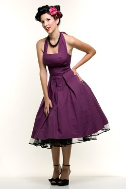 Eggplant Flirty Cotton Swing Dress