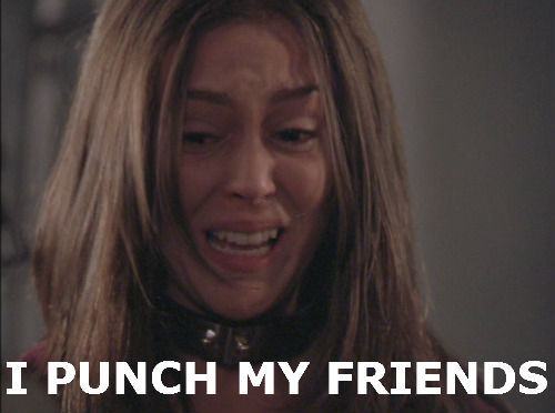 Alyssa Milano punches her friends. Especially in Charmed.
