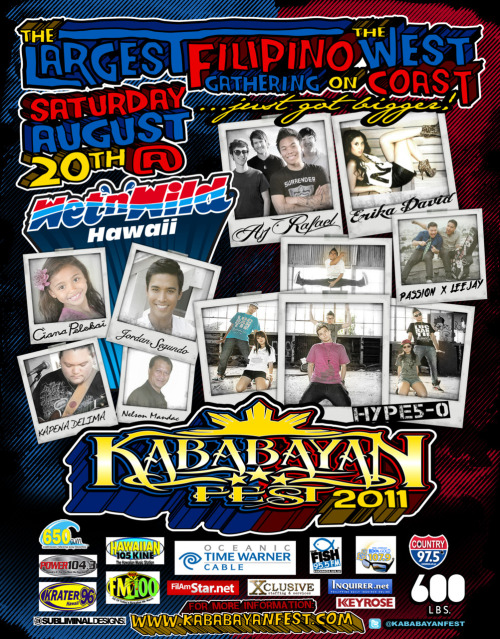 christinaluna:  Join us for the first ever Kababayan Fest in Hawaii taking place at Wet N' Wild in Kapolei! The AJ Rafael Band and Leejay & Passion will be performing! Along with our friends — Erika David, Jordan Segundo and more!