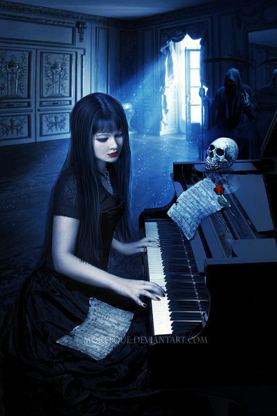 gothgallery:  .:Her last song:. by *Morteque