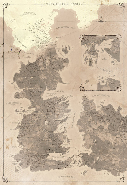 "justinrampage:  You can now visualize the Game of Thrones world thanks to Tumblr artist Ron Guyatt. 13"" x 19"" prints are now available at his Etsy Store. Inspired by the book series ""A Song of Ice and Fire"" on sale at Amazon. Game of Thrones - Map by Ron Guyatt (Flickr) (Facebook) (Twitter) Via: ron-guyatt"