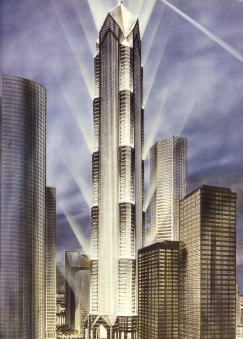 archimaps:  The proposed Bank of the Southwest Tower in the late 1980's, Houston