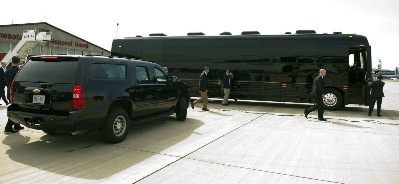 nationalpost:  Bus Force One?: Meet Obama's new armored busThe shiny, black armored bus, bristling with secret communications technology, with flashing police-style red and blue lights on the front and the back, made its debut on President Barack Obama's three-day tour of Minnesota, Iowa and Illinois.The vehicle was commissioned by the Secret Service, which has always hired buses for election campaigns and retrofitted them to provide suitable protection for presidents and rival party nominees. (Photo: Jim Watson/AFP/Getty Images)