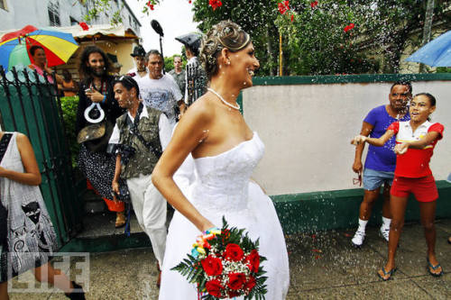 life:   First Transgender Wedding Held in Cuba — Cubans  throw rice over Wendy Iriepa after her wedding ceremony on Saturday in  Havana. The state paid for Iriepa's sex-reassignment surgery, which  legally made her a woman, thereby allowing her to get married. related photos: Cuba Before Castro: Rich, Sexy, Fun