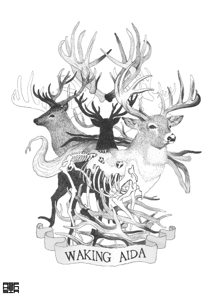 Waking Aida Deers T-Shirt. A recent T-Shirt design I did for the band Waking Aida. Available to buy at their upcoming gigs and from their online store shortly after that. Pictures of the real thing coming soon! Check out their Bandcamp and add them on Twitter if you like.