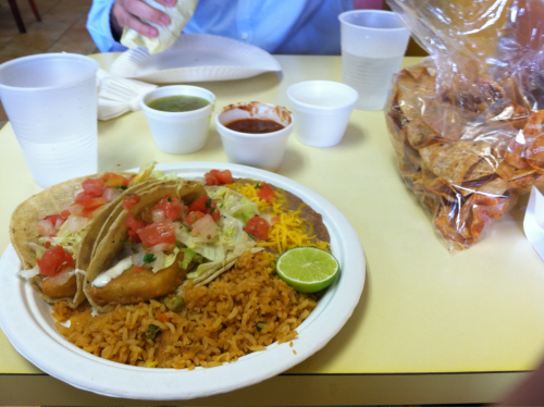Fish tacos with rice and beans at JV's in San diego