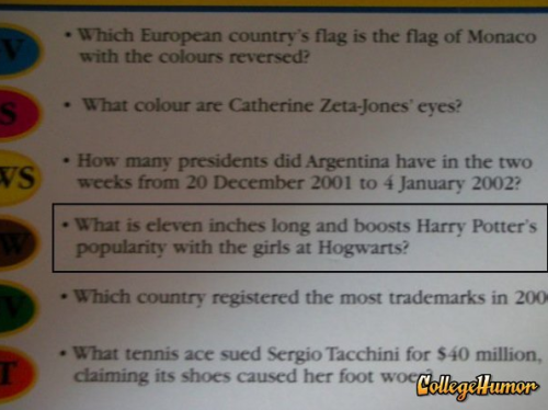 Harry Potter Trivial Pursuit Question Ladies can't resist the Phoenix feather core.