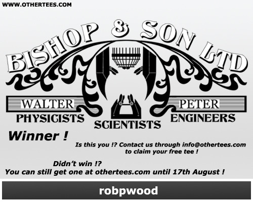 "othertees:  Our free ""Bishop and Son Ltd"" tee winner is…robpwood ! Congratulations ! Didn't win !? You can still get this great shirt until 17th August at OtherTees ! More contests coming soon ! :D"