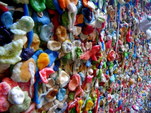 Gross but beautiful, the Market Theater Gum Wall in Seattle, WA.