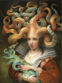 Contessa with Squid, oil on panelby Omar Rayyan