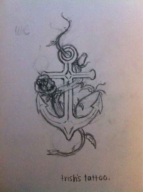brokenheartsandpapertoes:  anchor-rose tattoo sketch :) for my sister.