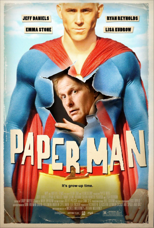 (#94) Paper Man - 2009 - Directed by Michele & Kieran Mulroney  Awesome movie. The writing & characters in this film were amazing. It has a great balance of quirkiness & charm. Jeff Daniels & Ryan Reynolds play perfectly off one another, the same goes for Daniels & Emma Stone. The two have great chemistry together, & make all the scenes they share together very powerful.