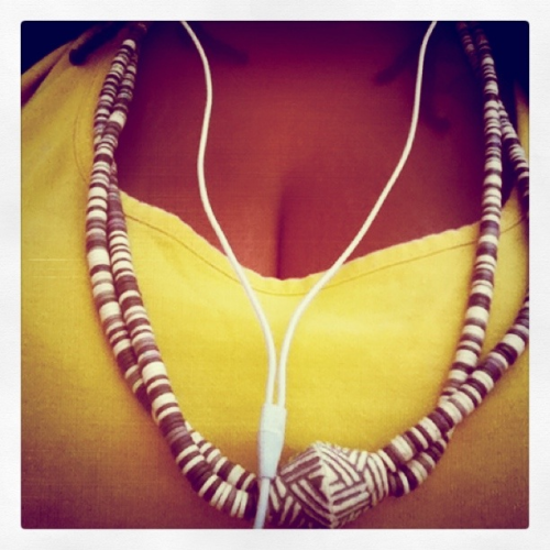 lunch breakin. stole this necklace from my pops.