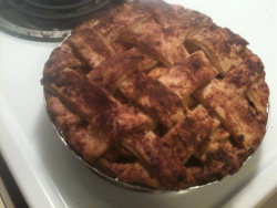My homemade, from scratch apple pie was a success! :)