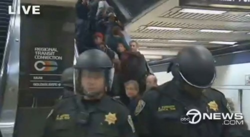 Happening now: BART station protest. Amid rumblings of anger and frustration over the mass transit system in the Bay Area (particularly due to claims of police brutality and cell-phone-blocking issues), people are protesting at the Civic Center station. Trains are not stopping at the station due to the protest. Live video here.