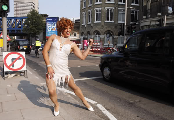 John Barrowman has some amazing legs. The actor in drag, promotional photos from his role as Albin/Zaza in La Cage Aux Folles.