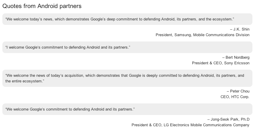 The eerily similar replies from Android partners on the Google acquisition of Motorola…