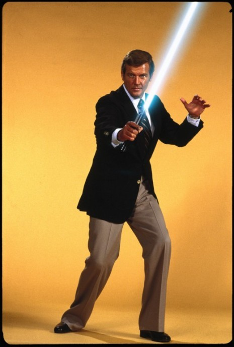 outwherethebusesdontrun:  James Bond wielding a light saber. Because he can, of course.