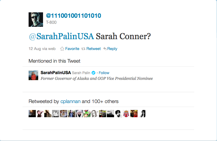 The Terminator is on Twitter and he's trying to find the real Sarah Conner.