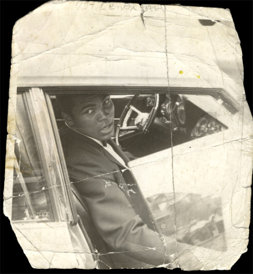 mpdrolet:  Muhammad Ali in the car, New York City, 116th Street and Lenox Avenue James Spencer