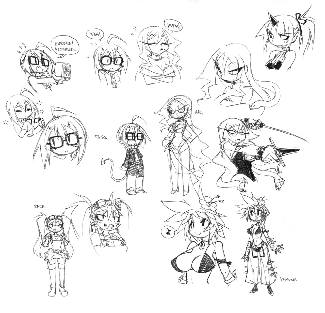 Various doodles of the Demon Mages Ziggy, Ari & Tess, plus older characters.  I really have to stop worrying and learn to love the bombs I drop.