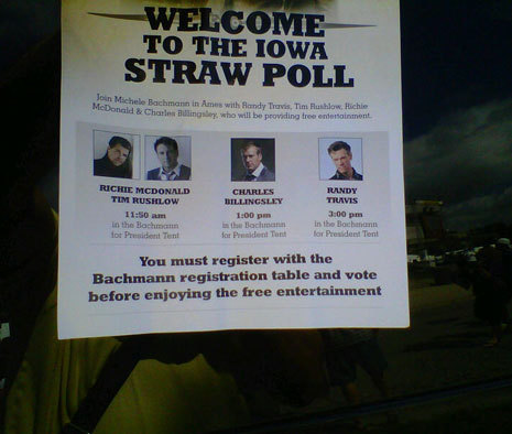 inothernews:  How Michele Bachmann Bought the Iowa Straw Poll. I wonder, of the five — FIVE — news organizations that had Bachmann on their Sunday morning talk shows, how many of them asked about this? (via Unelected)