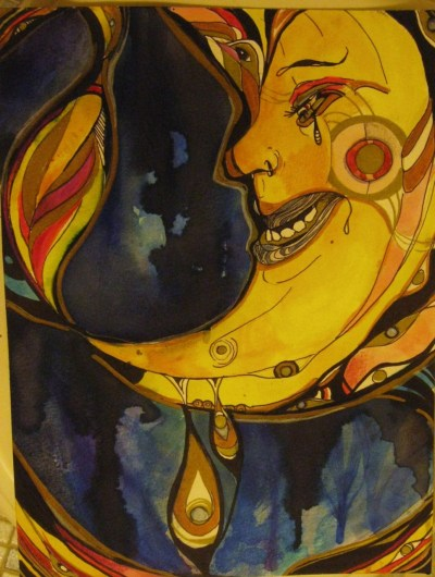 samichudyk-art:  Moon : ink, colored pencil, water color. Commentary: this has nothing to do with the moon, and everything to do with the mind.
