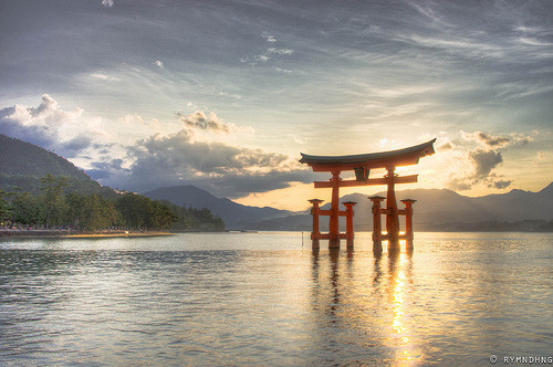 oxymoronical:  Itsukushima Shrine (by rymndhng)  The calm sun enters the shrineAnd cleanses every soulThat looks through.