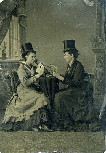 ineveryending:  Women Playing Cards (c. 1890) (by Bee's Antiques)  I wanna hang out with them!