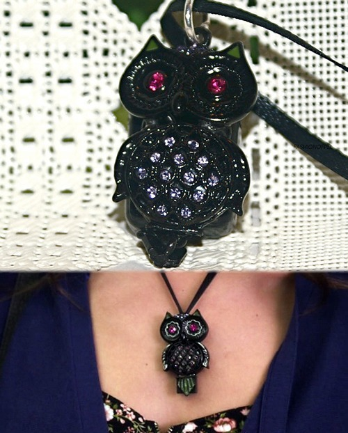 A lovely follower, kzisky, sent me a link to a replica of Jenna's owl USB. The owl was actually just part of a Betsey Johnson necklace. The PLL costume designers glued on the USB. But someone has actually made an awesome replica of Jenna's version.  Quartier - Owl USB Necklace - $155.00