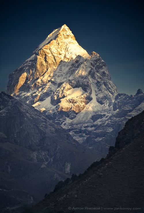 vineetkaur:  magicalnaturetour:  Himalayan Gold (Pharilapche 6,073 m) by Anton Jankovoy :)  mighty Himalayas  My place of birth.  Shout out to you if you  get it?