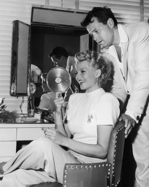 Rita Hayworth and Orson Welles on the set of The Lady from Shanghai (1947) Gown by Jean Louis Image Source: retro ladies
