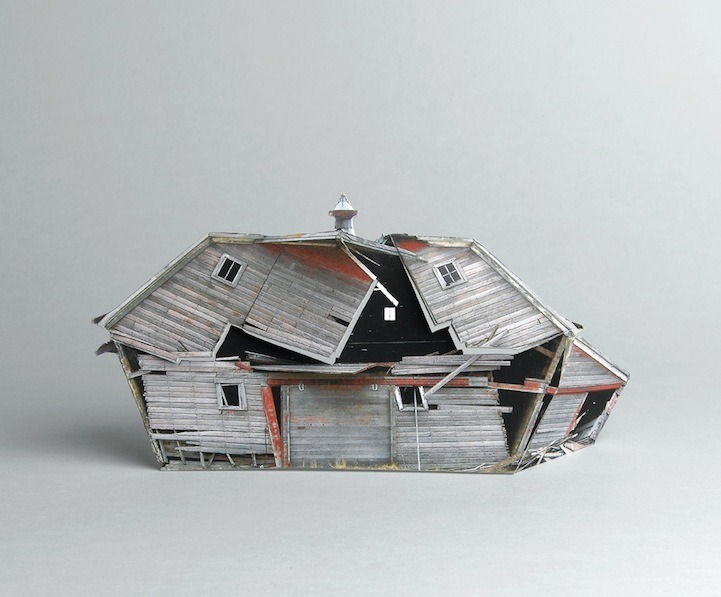 ianbrooks:  Model Dilapidated Houses by Ofra Lapid  Based on photographs of actual rotting carcasses of once thriving structures, which are then used to create small scale models. You can check out the rest of the series at Lapid's website. Having grown up in Ohio, I'm very familiar with seeing old, decaying barns and homes that have been neglected and left to the ravages of nature. I always wanted to go inside but I'm deathly afraid of whatever ghosts or giant spiders might now be inhabiting them.  (via: mymodernmet)
