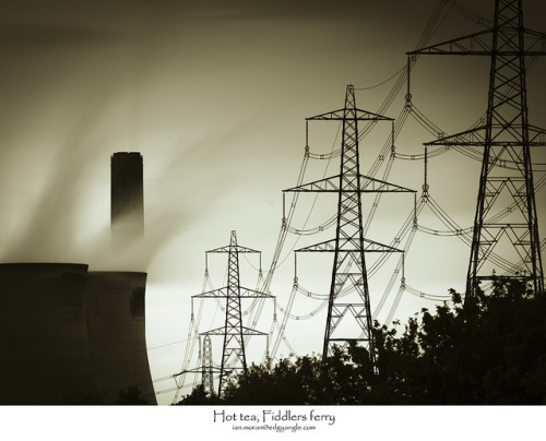 Hot tea, Fiddlers ferry on Flickr.On the way home yesterday evening, grey on grey, not too much to recover in full colour. In shot pylons leading upto Fiddlers ferry coal powered power station, two of the eight huge cooling towers and the steam. Thanks for looking.