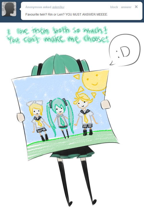 miku: But, if I really have to choose.. the one who gives me leeks is my favourite 8)  [[LOLOL i havent done anything recently.. all the works gone to ooc kun :P ]]
