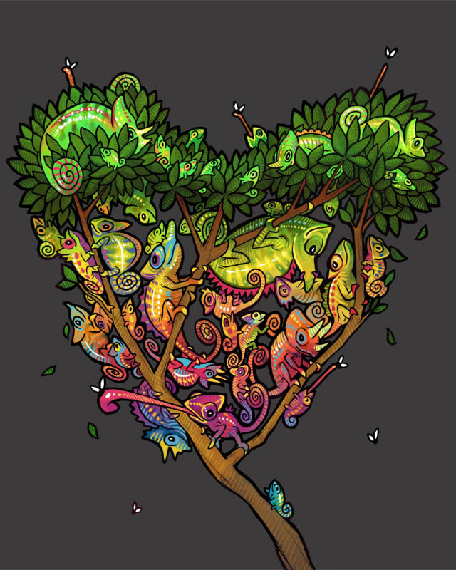 "threadless:  Everybody Loves a Chameleon by purplekecleon aka Melanie Herring is up for voting. She says, ""I love chameleons. You love chameleons. ~Everybody~ loves chameleons. I love their colors, the crazy way their toes look, their weird eyes,  mouths. I can't even believe how many varieties there are of this great  little critter.""   Aw sweet, on the Threadless blog itself! Vote for my shirt please!!"