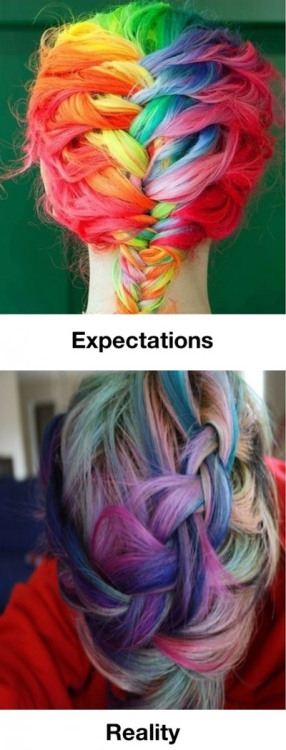 Rainbow hair is not too much pressure. French braids are not too much pressure. But French Braided Rainbow Hair is TOO MUCH PRESSURE. Don't Do It Yourself.