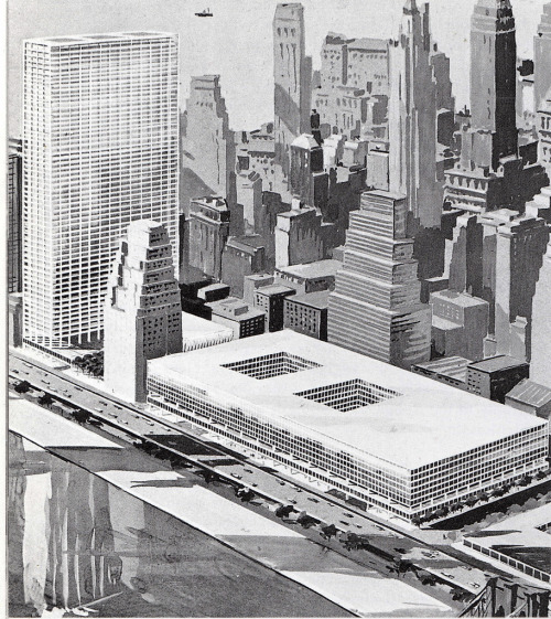 Rejected design for the World Trade Center in 1960, New York