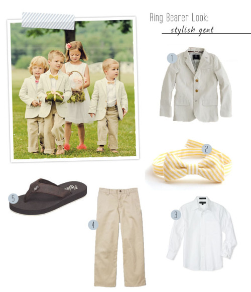 Styling the Little Ones: Ring Bearer Fashion | Green Wedding Shoes Wedding Blog this is so adorable!  substitute loafers for the flip flops though.