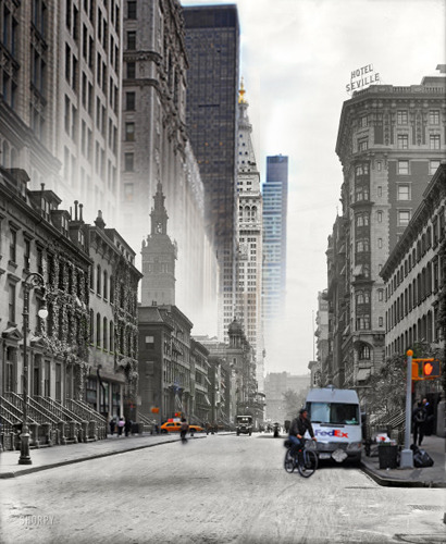 "sarahwrotethat:  Madison Ave 1911 vs 2010. Photos via Shorpy:  1909: ""Madison Avenue and the towers."" Starring the new  Metropolitan Life building. Detroit Publishing glass negative.  2010: looking south from 30th Street by Shorpy user  timeandagainphoto"