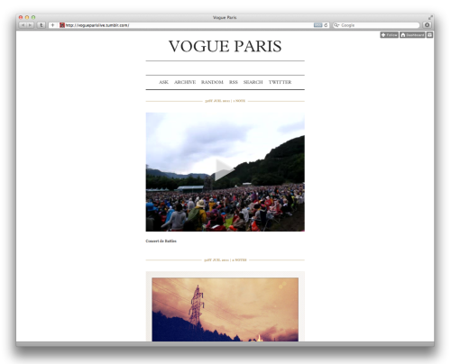 Bonjour!  richtong:  in which we welcome Vogue PARIS to tumblr.  thanks to meg for the heads up :)
