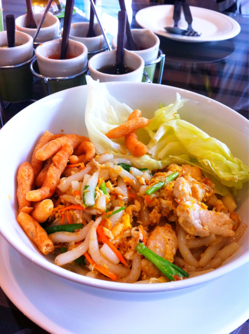 Thai food: chicken fried noodle. Rice macaroni stir fried with chicken and crispy dough bars. It is 'giem-e-kua-kai'.