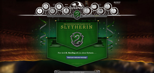 I got sorted into Slytherin! Yay! I have Professor Severus Snape as my Head of House!