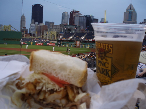 mightyflynn:  Primanti Brothers sandwich and a coldie at PNC Park Pittsburgh, Pennsylvania (photo by savbayy)